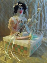 Vintage Handmade Juggling Clown Plastic Canvas Music Box With Movement