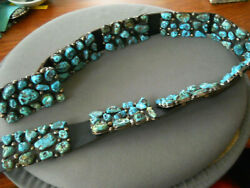 Native American Navajo Turquoise Nugget Cluster Sterling Silver Concho Belt