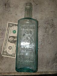 Antique 10 Booth's Distillery London England High And Dry Gin Aqua Glass Bottle