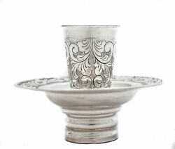 925 Sterling Silver Handmade Chased Floral Designed Mayim Achrunim Cup And Bowl