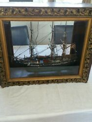 Antique Wooden Ship Model, Cased. Local Pickup Only, No Shipping No Exceptions