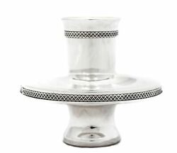 Fine 925 Sterling Silver Handmade Modern Floral Border Mayim Achrunim Cup And Bowl