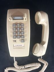 Vintage Bell Phones Beige Push Button Corded Wall Telephone Untested