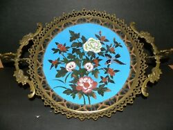 An Extraordinary French Cloisonne Tray W/ Ornate Bronze Ormolu Mount And Trim