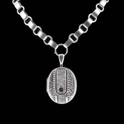 Antique Aesthetic Large Sterling Silver Locket And Collar Necklace Band039ham 1880