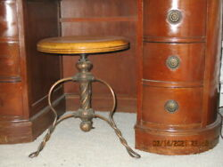 Antique Victorian Piano Stool W /twisted Wrought Iron Copper Legs Oak Seat