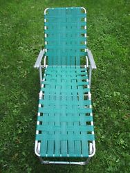 Vintage Mid-century Aluminum And Webbed Chaise Lounge Lawn Chair Nice Survivor