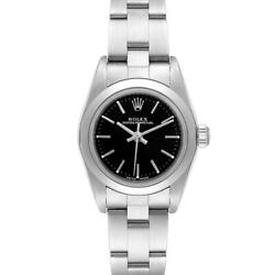 Rolex Oyster Perpetual Nondate Black Dial Steel Ladies Watch 76080 Box Papers