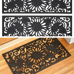Rubber Stair Step Treads Mat Or Doormat Rug Sunflower Outdoor Porch Traction