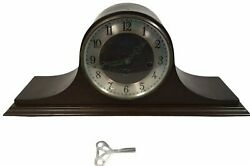 Vintage Welby Chime Wooden Mantel Clock 340 020 Brown W Key 2 Jewels Germany