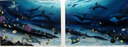 Wyland, Radiant Reef, Limited Ed Giclee Diptych On Canvas 36 X 25 Imagex2