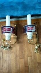 Vintage Circa 1970 Pair Of Budweiser Lighted Wall Sconces