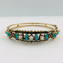 Victorian Etruscan 14k Yellow Gold Turquoise And Seed Pearl Hinged Bangle Bracelet