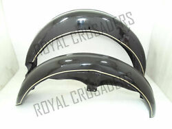 Brand New Ajs Front And Rear Black Painted Mudguard Set Reproduction