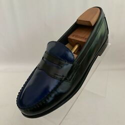 G.h. Bass Weejuns Belle Penny Loafers Black Blue Leather Pinch Toe Shoes Sz 9.5m