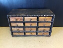 Vintage Table Top Cigar Box Collectors Drawers In Antique Pigeon Hole Cabinet