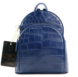 Authentic M Crocodile Belly Skin Menand039s Girl Boy Backpack Bag Zipper Navy Blue
