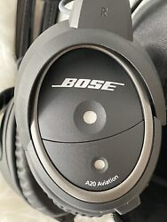 Bose A20 Aviation Headset With Bluetooth And Dual Plug Cable - Black
