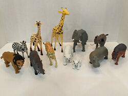 Lot Of 12 Plastic Toys Animals Jungle Zoo Wildlife Nature Unbranded