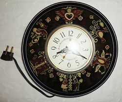 Vintage Dutch Mcm Ge General Electric Kitchen Wall Clock Works Black And Gold