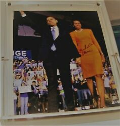 Barack And Michelle Obama Signed By 1st Lady .in Lucite Holder