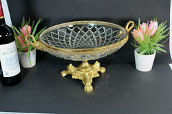 Vintage Large French Crystal Glass Fruit Bowl Centerpiece Brass Lion Paws Swan