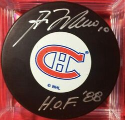 Guy Lafleur Signed Puck Autographed Montreal Canadiens Inscribed Hof 88