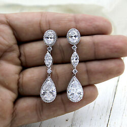 Pear Halo Long Dangling Wedding Earrings Good Quality S925 Sterling Silver