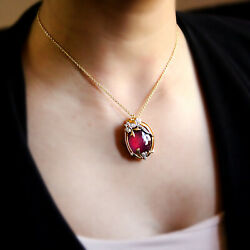 Natural Ruby/g Onyx Victorian Style Pendant Changeable18kt Solid Yellow Gold