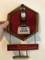 Rare Old Crow Whiskey Bar Wall Display Rare And Unique Plastic Felt Character