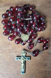 Ca 1850 French Brass Rosary Cherry Red Glass Beads Antique Catholic Miraculous