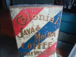 Vintage Store Advertising Tin Display Colonial Coffee Chicago Ill