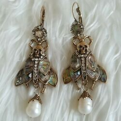 New Deaths Head Hawkmoth Moth Skull Abalone And Pearl Gothic Insect Earrings
