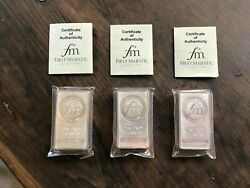 3 New 10 Ounce Silver Bars First Majestic