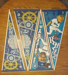 Vintage Seattle Mariners Wincraft Pennant Lot Of 4 Player 1990's W/ Player Flags