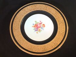 Royal Bavarian Hutschenreuther Selb Bavaria Gold Encrusted Floral Plate Charger
