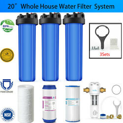 3-stage Big Blue 20 Whole House System 1 Port+gacstring Woundpleated Filters