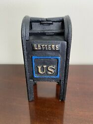 Vintage Cast Iron Mail Box Air Mail Letters Us Still Banks