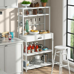 Tribesigns Kitchen Bakers Rack With Hutchand Drawer 8 S-hooks Microwave Oven Stand