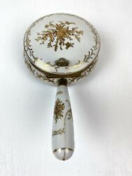 Vintage Isco White And Gold Hand Painted Porcelain Silent Butler Crumb Catcher