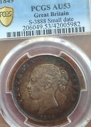 1849 Half Crown Small Date Lots Of Lustre Looks Unc Extremely Rare Not Seen One