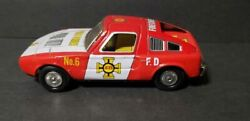 Vintage Japan Tin Friction Fire Chief Car - Yone Toys