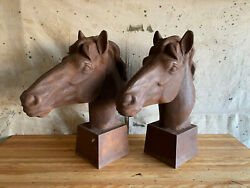 Pair Antique Cast Iron Horse Heads Ranch Gate Entry Large 2' H Bust Equestrian