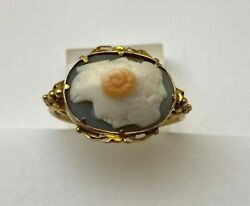 Very Rare 12k Yellow Gold Ladies Four Faces Cameo Ring Size 6 1/4