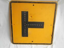 Antique 'right T-intersection Road Sign Glass Reflectors Vintage Cat Eye