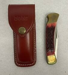 Vintage Buck Folding Knife 110x Usa With Stag Handle And Sheath 1980andrsquos