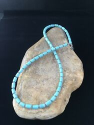 """Native American Sterling Silver Blue Turquoise Necklace 18"""" 10011"""