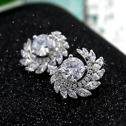 Round Marquise Art Deco Exquisite Stud Earrings 925 Sterling Silver Good Quality