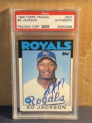 Bo Jackson Signed 1986 Topps Traded 50 T Rc Rookie Auto Royals Psa/dna Raiders