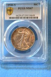 1946-s Walking Liberty Half Dollar Pcgs Certified Ms--67 Superior Toned Coin 46